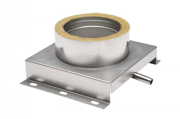 Konsolplatte mit Ablauf Edelstahl doppelwandig Sockel eckig Design - eka cosmos D 25