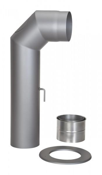 Rauchrohr Set Stahl 2x 45° 700 x 300 mm Ø 150 mm hellgrau, kurz