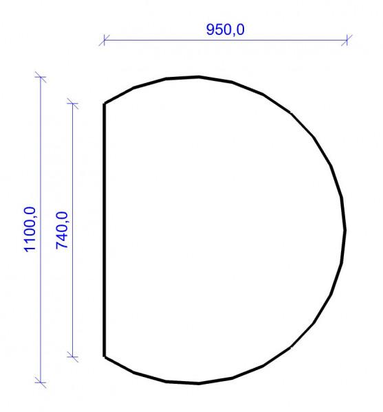 Kamin Bodenplatte, 2 mm Stahl, Kreisabschnitt 950 x 1100 mm, schwarz