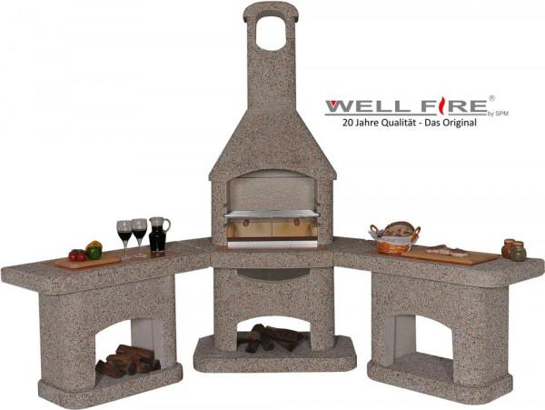 Outdoorküche mit Grillkamin Wellfire NOVA braun