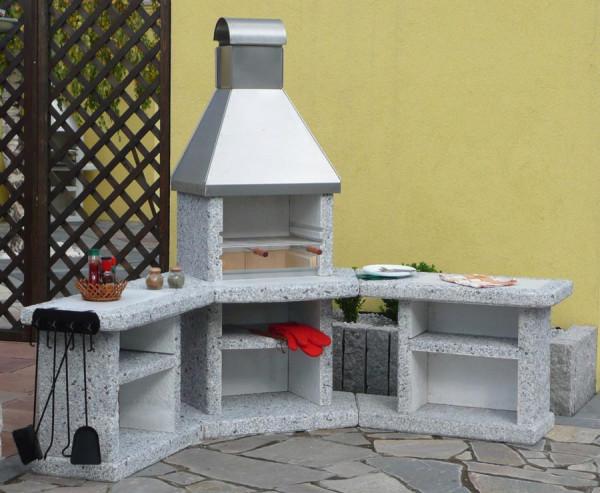Outdoorküche mit Grillkamin Wellfire TOSKANA mit Edelstahlhaube
