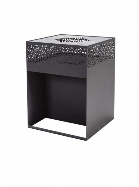 Feuerkorb mit Grillplatte Feu du Jardin CUBE 1000 mit Holzfach, schwarz