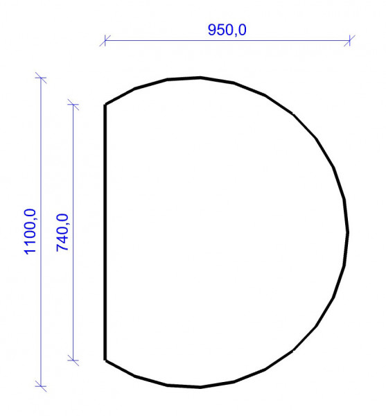 Kamin Bodenplatte, 6 mm ESG-Klarglas, Kreisabschnitt 950 x 1100 mm