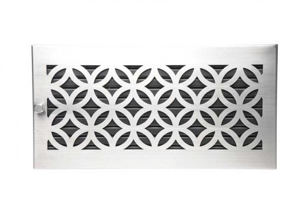 Warmluftgitter 45 x 23 cm schwarz Designblende Edelstahl matt