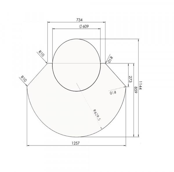 Vorlegeplatte Universal 2 Aussparung Ø 610 mm, 6 mm ESG-Klarglas
