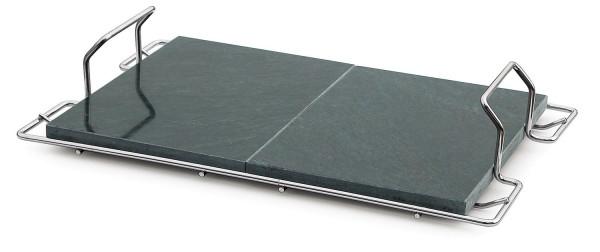 Pizzaplatte Speckstein mit Träger 60 x 38 cm
