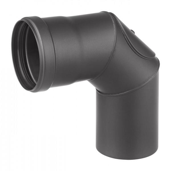 Pellet-Ofenrohrbogen Stahl 90° schwarz mit Tür