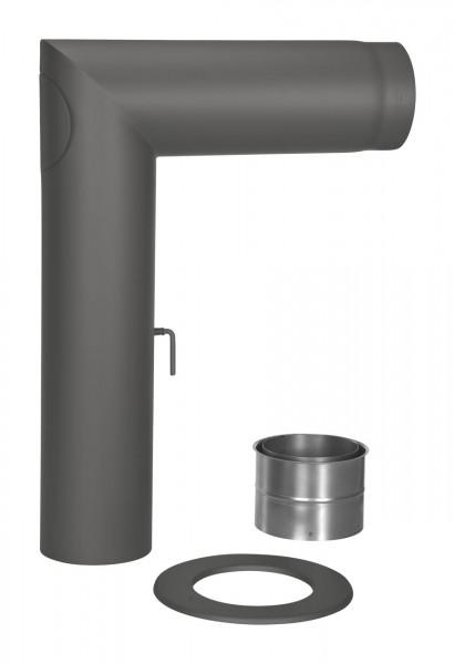 Rauchrohr Set Stahl 90° 700 x 500 mm Ø 150 mm schwarz
