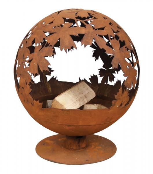 Feuerschale Rost Kugel, 56 x 58 x 65 cm, Feuerball Blätter