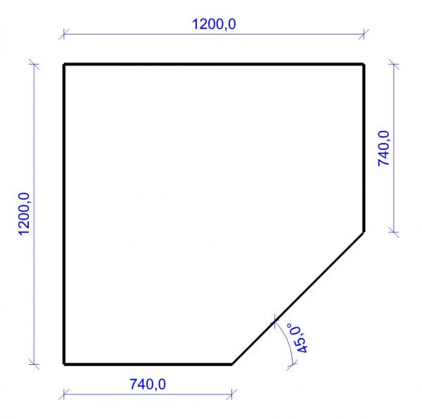 Kamin Bodenplatte, 6 mm ESG-Klarglas, Fünfeck 1200 x 1200 mm