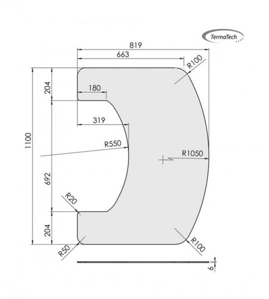 Glas-Vorlegeplatte TermaTech Kaminofen TT22, 6 mm