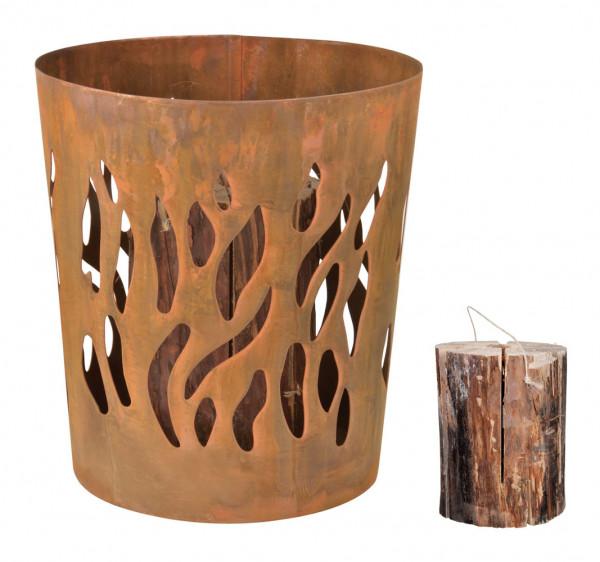 Feuerkorb Stahl Rostoptik, Ø 32 x 35 cm