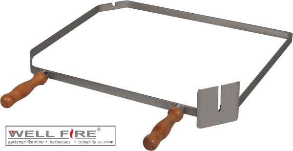 Grillspießhalter diagonal aus Edelstahl mit Holzgriffen