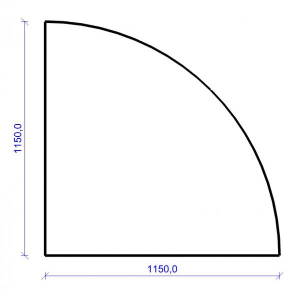 Kamin Bodenplatte, 2 mm Stahl, Viertelkreis 1150 x 1150 mm, hellgrau
