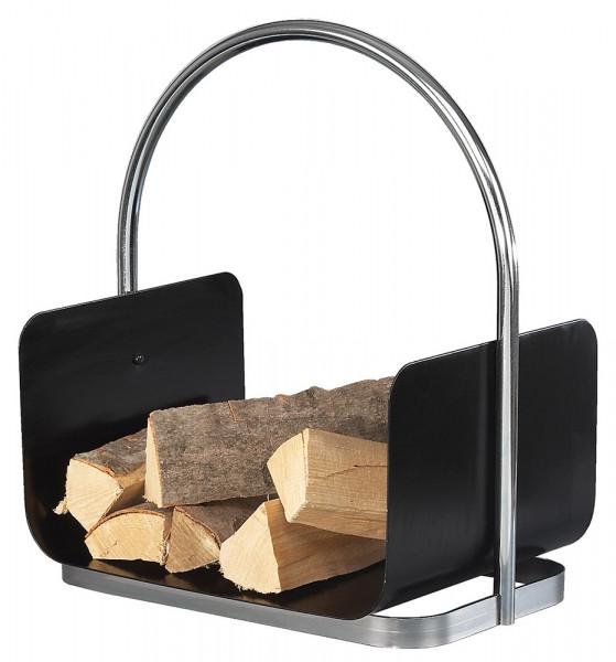 Holzlege aus Stahl mit Tragegriff, schwarz chrom