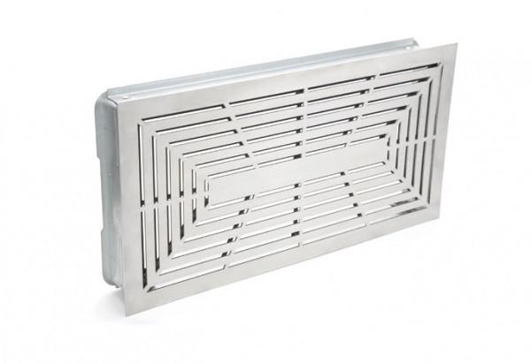 Design Lüftungsgitter 45 x 23 cm mit Einbaurahmen weiß - weiß