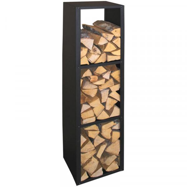 Kaminholzregal aus Metall 36 x 149 x 31 cm, schwarz