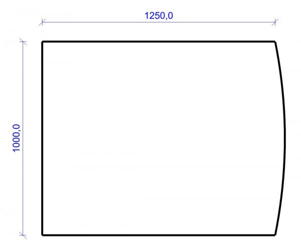 Kamin Bodenplatte, 2 mm Stahl, Segmentbogen 1000 x 1250 mm, schwarz