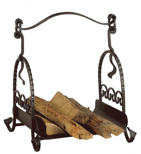 Holzkorb Heibi aus Schmiedeeisen, schwarz antik