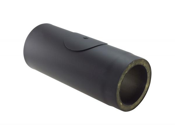Rauchrohr Stahl doppelwandig 500 mm Ø 150 mm schwarz mit Prüföffnung