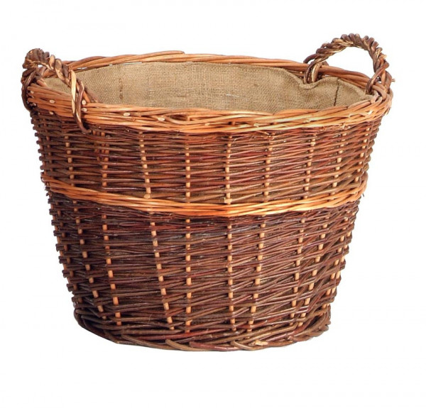 Holzkorb aus geflochtener Weide, rund, groß