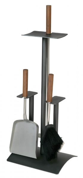 Kaminbesteck Lienbacher aus Stahl, 3- teilig, anthrazit beschichtet, 64 x 24 x 20 cm