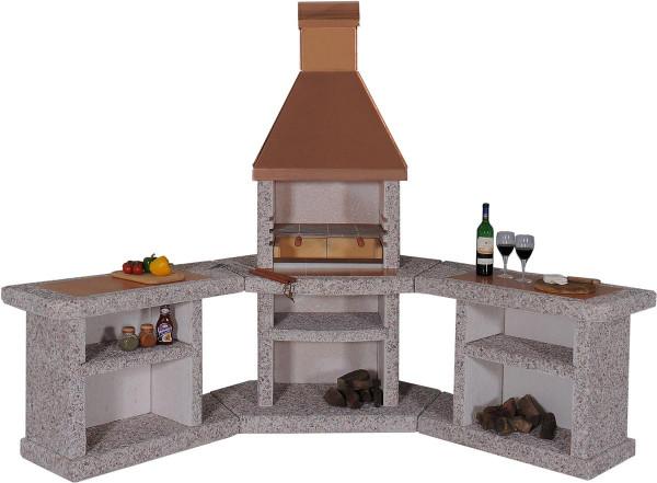 Outdoorküche mit Grillkamin Wellfire TOSKANA mit Kupferhaube